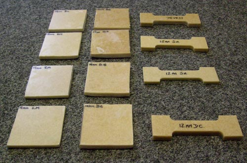 Test pieces marked and ready.